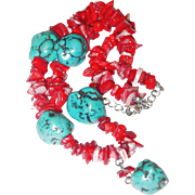 SALE BLOWOUT SALE: Turquoise Nugget Necklace with Dyed Coral