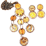 REDUCED Les Bernard Coin Pendant and Earring Set with Rhinestone