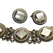 SALE Chunky  Mother-of-Pearl and Faux Seed Pearl Bracelet and Earring Set