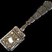 REDUCED SALE: Antique Victorian Chatelaine Waist Clip with Art Nouveau Pomegranate Design Note