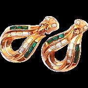 SALE Rare 1953 Trifari Green Baguette Earrings by A. Philippe