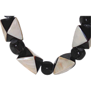 SALE Abstract Triangle Tortoise and Mother-of-Pearl Boutique Necklace