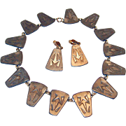 REDUCED Jorgen Jensen, Denmark Egyptian Frog Necklace and Earring Set