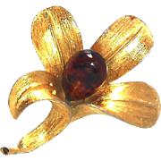 REDUCED Rare Roger Van S Vintage Flower Pin with Glass Center