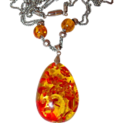 SALE Faux Amber Necklace Pendant on Long White 18KGP Double Chain with Beading