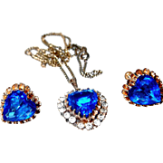 SALE Cobalt Blue Crystal Heart Necklace and Earring Set