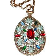 SALE Blue Enamel Pendant with Red, Blue and Green Cabochons