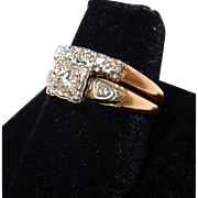 SALE 1940s Yellow Gold Wedding Ring Set with Diamonds Engagement Ring and Wedding Band