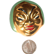 REDUCED Asian Facial Brooch with Gold Gilding