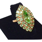 SALE Vintage Large Peridot Green Rhinestone Ring; Vogue 2016 Runway Fashion