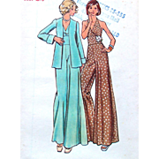 SOLD Butterick Sewing Pattern; Misses' Evening Jumpsuit with Jacket, Size 12