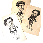SALE Small Postcards of 3 Men in Character Costume, Vanity Fair 1874