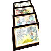REDUCED Four Framed Prints of Children (Girls) by Swedish Artist Carl Larssen