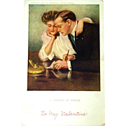 SALE Problem with Income 1907 Valentine Postcard, Underwood - Comical