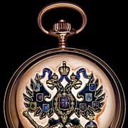 SOLD Russian Imperial Eagle Gold & Enamel Pocket Watch