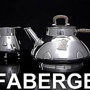 SOLD Antique CARL  FABERGE Silver Tea Set 1899-1908