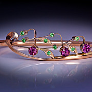 SOLD Art Nouveau Vintage Russian Garnet Gold Bangle Bracelet