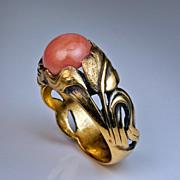 Art Nouveau Openwork Design Coral Ring