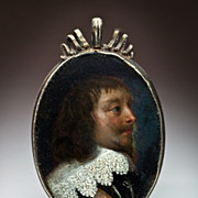 SOLD 17th Century Portrait Miniature Oil on Copper Silver Frame