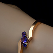 SOLD Antique Amethyst and 14K Rose Gold Bangle Bracelet