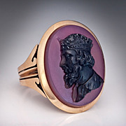 Antique Agate Cameo 14K Gold Ring