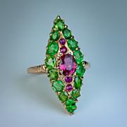Vintage Ruby and Green Garnet 14K Gold Ring
