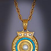 Victorian 14K Gold Pearl Turquoise Locket Pendant