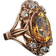 Art Nouveau Citrine, Diamond and 14K Gold Ring