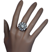 Antique Pearl and 4.40 Ct Diamond Cluster Ring