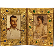 SOLD Antique Faberge 14K Gold, Emerald and Sapphire Picture Frame