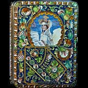 Antique Russian Cloisonne Enamel and Silver Cigarette Case