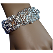 SALE PENDING Art Deco Platinum Diamond Wide Bracelet