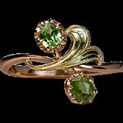 Art Nouveau Russian Demantoid Ring