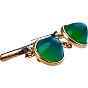 Antique Gold and Chrysoprase Cufflinks