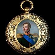 Antique Gold Pocket Watch Enamel Miniature of Russian Tsar