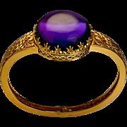 Victorian 70 ct Amethyst 14 K Gold Antique Bangle Bracelet