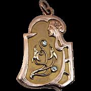 Antique Diamond 14K Gold Art Nouveau Locket Pendant