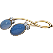 Art Nouveau Sapphirine Diamond 14K Gold Antique Russian Brooch Pin
