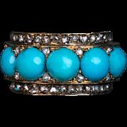 Antique Victorian Turquoise Rose Cut Diamond 14K Gold Ring