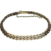 Vintage 14K Greenish Yellow Gold Woven Bracelet