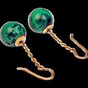 Victorian Era Antique Russian Malachite 14K Gold Pendant Earrings