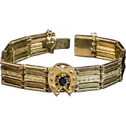 SALE PENDING Antique Horseshoe 14K Gold Sapphire Bracelet