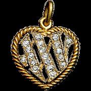 25th Wedding Anniversary Antique Diamond Heart 14K Gold Pendant 1800s