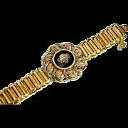 Antique Victorian 14K Gold, Diamond and Enamel Locket Bracelet