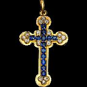Antique Sapphire, Diamond and 14K Gold Cross Pendant