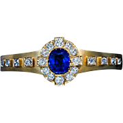 Antique French Sapphire Diamond Gold Bracelet
