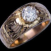 Unusual Antique Diamond Chased 14K Gold Men's Ring