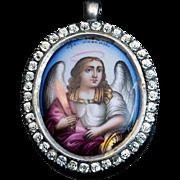 Antique Archangel Michael Enamel Icon Medallion Pendant