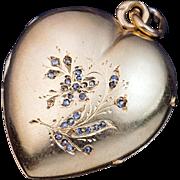 Antique Puffed Heart 14k Gold Diamond Pendant Locket