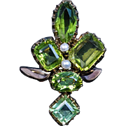 Antique Art Nouveau Peridot Flower Ring
